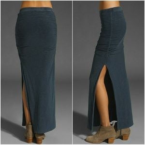 James Perse side slit ruched maxi skirt army green
